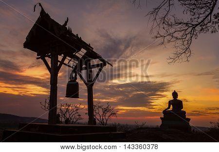 Buddha statue in sunset at Phrabuddhachay Temple Saraburi Thailand