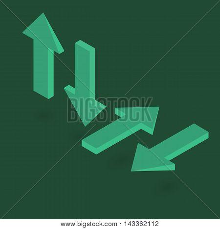 Arrows green specify isometric 3d vector illustration
