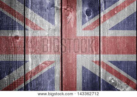 UK flag on wood - flag concept