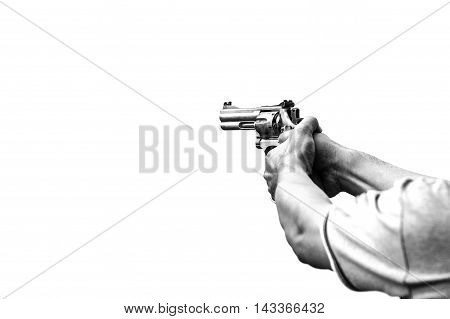 minimallist of two hand aim gun in monotone symbolized threaten and violence