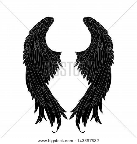 vector, gothic .Hand drawn angel wings .