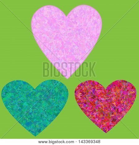 Set grunge hearts on background square tiles