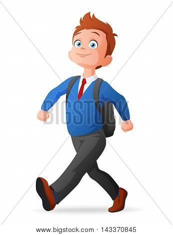 Proud and cheerful cute little young boy in uniform walking to school with backpack. Cartoon vector illustration.