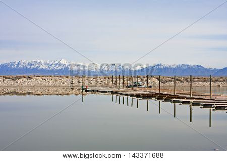 Pontoon in the harbor of Antelope Island, Utah