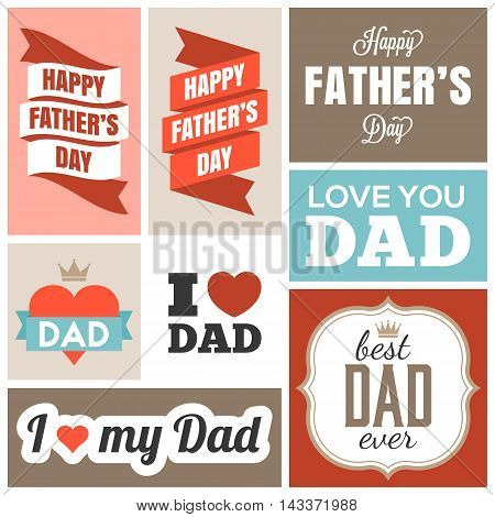 happy father day headline and banner, flat design