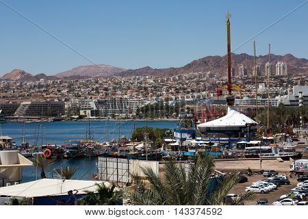 View to the city Eilat and the red mountains Israel
