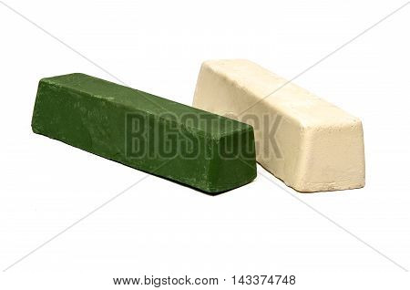 Industrial Metal Polishing Buffing Compound Wax Bric Green and White on white background