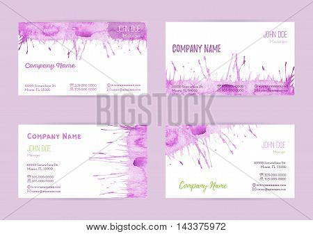 Set of hand painted watercolor horizontal business card templates. Colorful pastel abstract pink brush stocks and splashes on a white background. Complied with the standard size.
