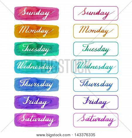 Handwritten days of the week: Monday Tuesday Wednesday Thursday Friday Saturday Sunday on abstract watercolor textures isolated on white background. Vector illustration with lettering.