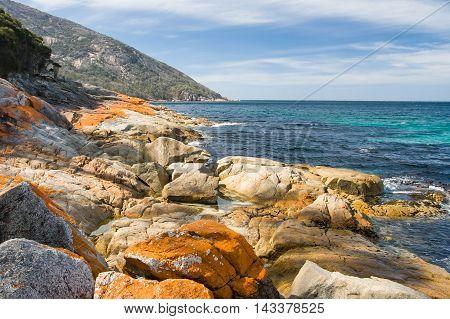 A beach in a remote part of the Freycinet Peninsula in Tasmania, Australia