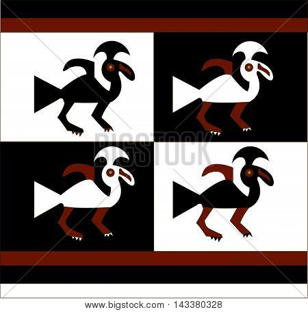 Ethnic pattern of American Indians: Aztecs, Mayans, Incas.  birds- stylized graphics. drawing in the Mexican style. Vector illustration.