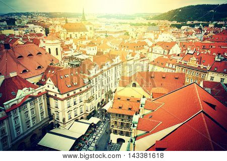Prague. Old Town. View from Old Town City Hall. European city concept. Vintage picture.