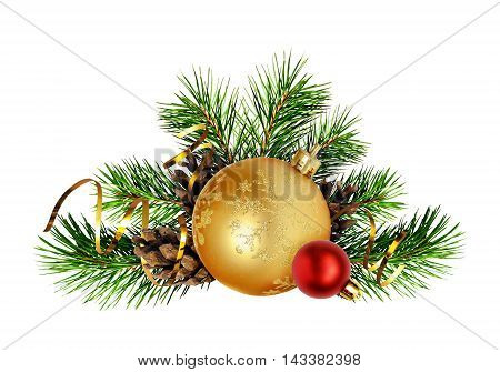 Christmas decoration with pine twigs cones and balls isolated on white background