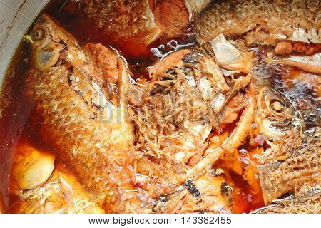 Java Barb Or Silver Barb Fish In Deep Sauce Boiling