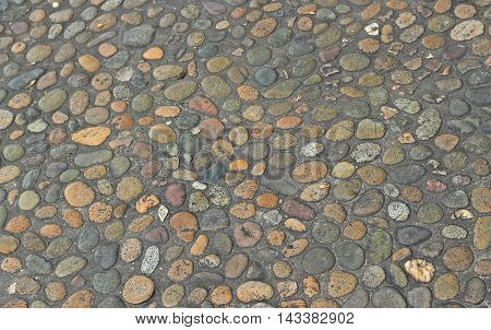 Decorative Floor Pattern Of Gravel Stones, Gravel Texture Background
