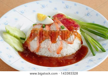Rice. Barbecued Red Pork In Sauce With Rice