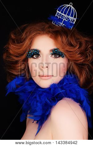 Perfect Lady. Woman with Makeup and Red Hair. Blue Bird Concept