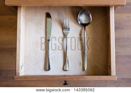 Knife, Fork, Spoon In Open Drawer