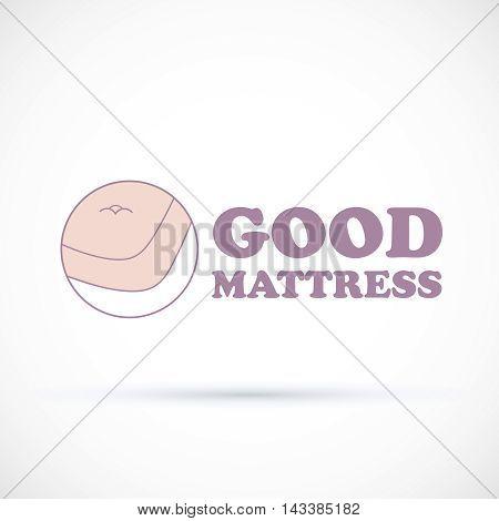 Logo soft pink matress shop vector illustration