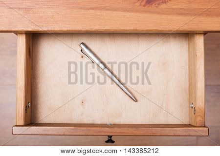 Old Silver Pen In Open Drawer