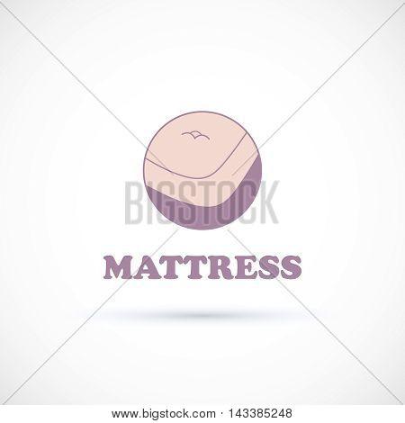 Logo sign matress shop hand drawn vector illustration