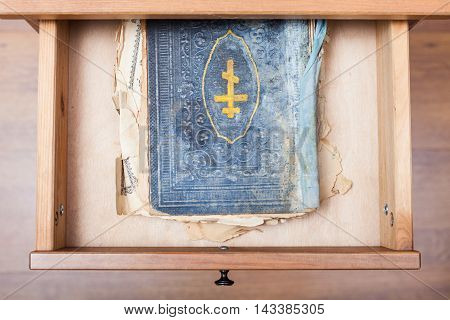 Ancient Ritual Book In Open Drawer