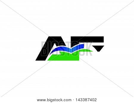 AF company linked letter logo design template