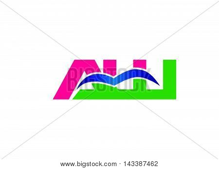 AW company linked letter logo design template