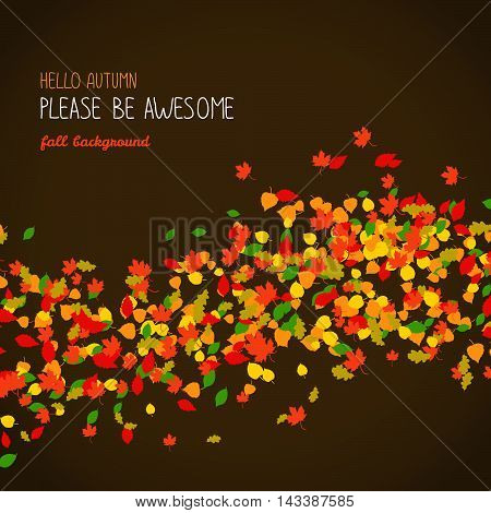 Hello Autumn. Please be Awesome. Poster or banner. Warm earthy colors. Falling leaves. Fall background with copy space. Colorful foliage card. Can be used as postcard or flyer.