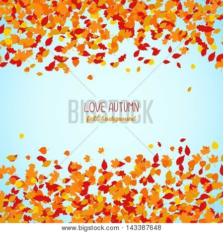 Love Autumn. Fall background with falling leaves. Colorful foliage card with blue sky. Autumn background with copy space. Colorful foliage card. Can be used as flyer or poster.