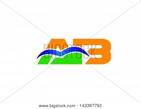 AB company group linked letter logo design