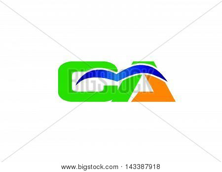 AC company group linked letter logo design
