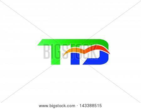 Letter T and D logo. TD company linked letter logo