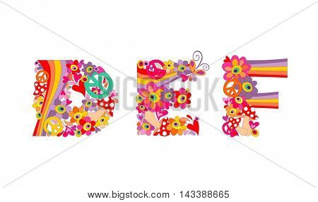 Hippie childish alphabet with colorful abstract flowers, rainbow and mushrooms. DEF