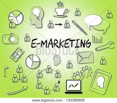 Emarketing Icons Represents Internet Promotions And Selling