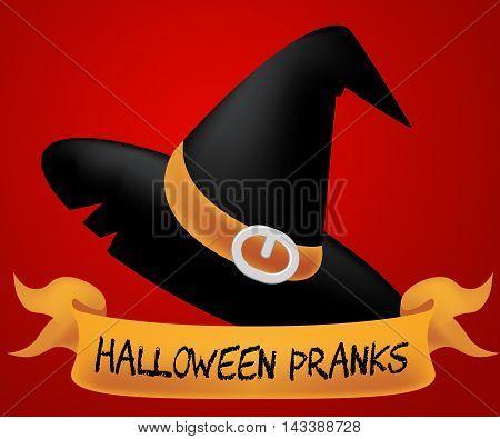 Halloween Pranks Represents Trick Or Treat 3D Illustration