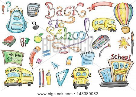 Welcome Back to School Classroom Supplies Notebook Doodles Hand-Drawn Illustration Design Elements Freehand drawing Vector