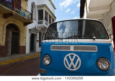 Panama City Panama - March 16 2014: An old van parked in a street in Casco Viejo in Panama City Panama. Casco Viejo is the historic district of Panama City