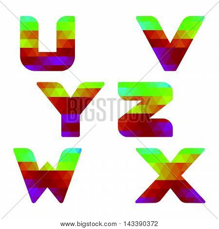Alphabet Colorful Letters U To Z