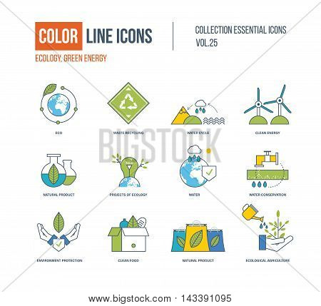 Color Line icons collection. Ecology, water conservation, waste recycling, clean energy, natural product, environment protection, clean food, ecological agriculture