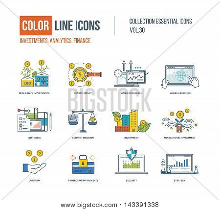 Color Line icons collection. Real estate investment, finance, search money, market research, global business, correct decision, agricultural investment, donation, protection of payment, strategy