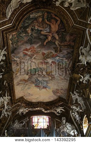 ROME ITALY - JUNE 11 2015: Santa Maria della Vittoria / Our Lady of Victory/ is a Roman Catholic titular church dedicated to the Virgin Mary in Rome Italy