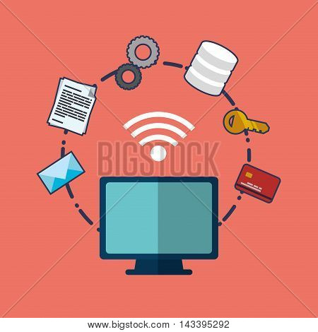 web hosting computer wifi envelope credit card data center security system technology icon set. Colorful and flat design. Vector illustration
