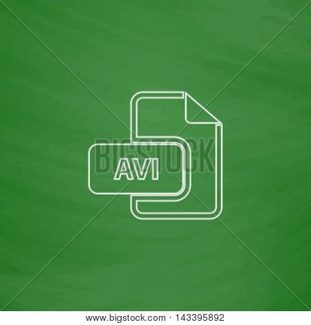 AVI Outline vector icon. Imitation draw with white chalk on green chalkboard. Flat Pictogram and School board background. Illustration symbol