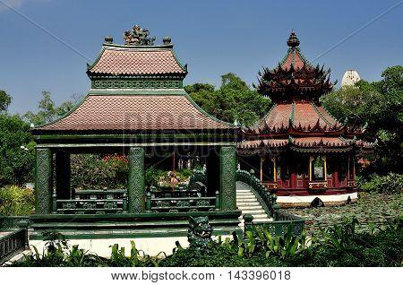 Samut Prakan Thailand - January 15 2013: The Phra Kaew Pavilion from Ayutthaya at Ancient Siam heritage theme park