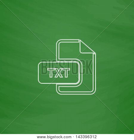 TXT Outline vector icon. Imitation draw with white chalk on green chalkboard. Flat Pictogram and School board background. Illustration symbol