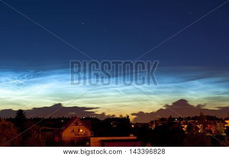 Night sky summer view with silvery clouds