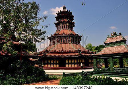 Samut Prakan Thailand - January 15 2013: The octagonal Phra Kaew Pavilion at Ancient Siam