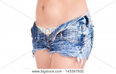 Beautiful Young Attractive Girl Undressing Her Blue Jeans Shorts