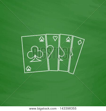 Poker Cards Outline vector icon. Imitation draw with white chalk on green chalkboard. Flat Pictogram and School board background. Illustration symbol
